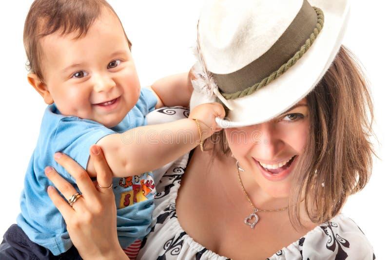 Retrato da matriz feliz com bebê imagens de stock