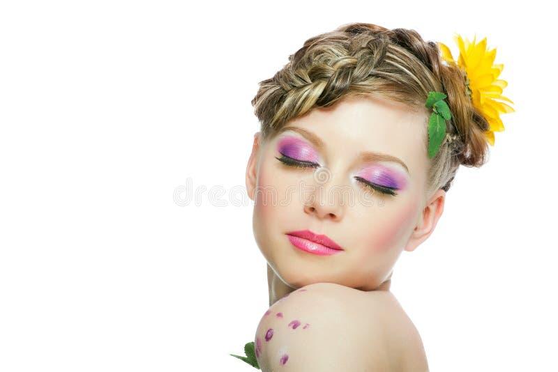 Retrato da menina bonita com bodyart imagens de stock