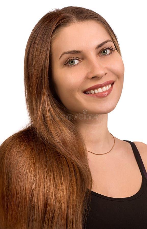 Retrato da menina bonita com cabelo longo imagens de stock royalty free