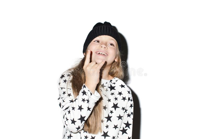 Retrato da menina bonita da estrela do rock isolada fotografia de stock royalty free