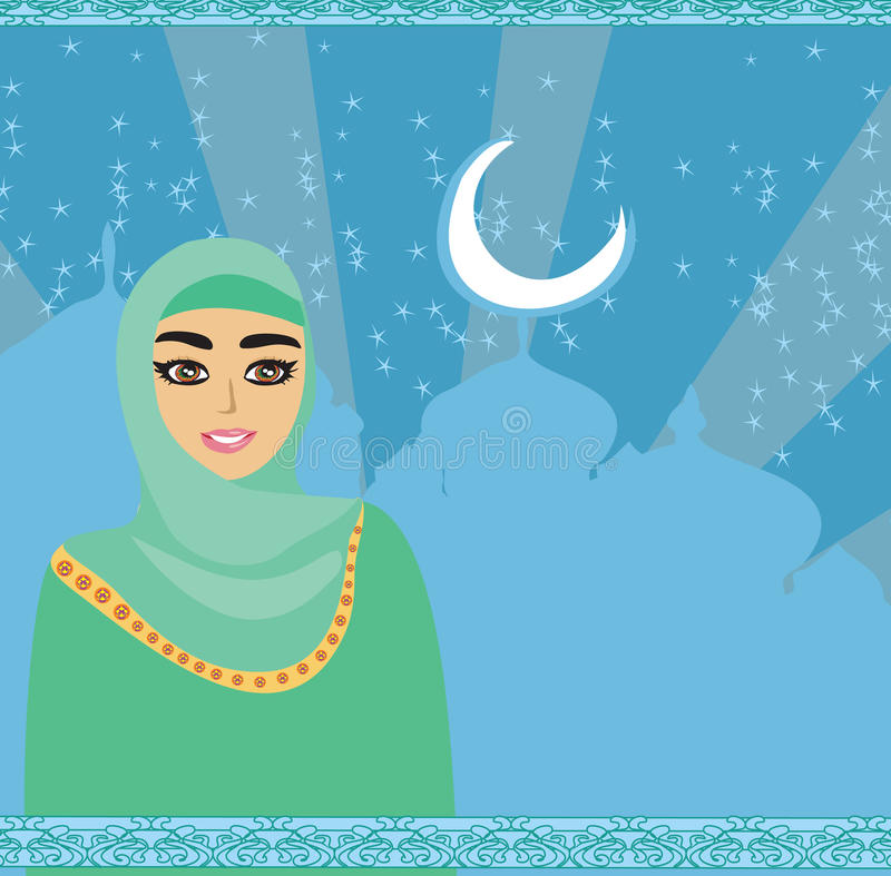 Retrato da menina bonita muçulmana no hijab ilustração do vetor