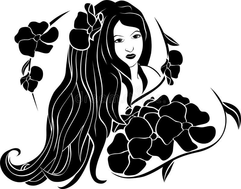Retrato da menina bonita nas flores ilustração royalty free