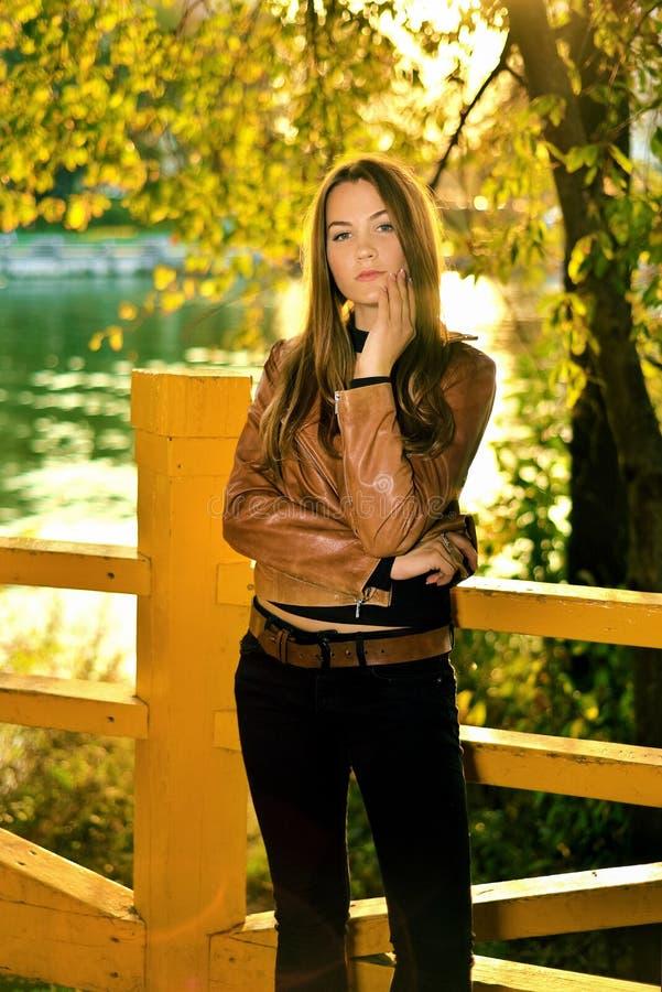 Retrato da menina bonita no por do sol no outono foto de stock