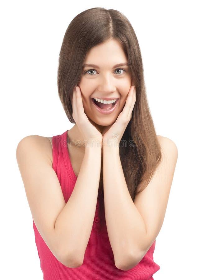 Retrato da menina bonita surpreendida imagens de stock