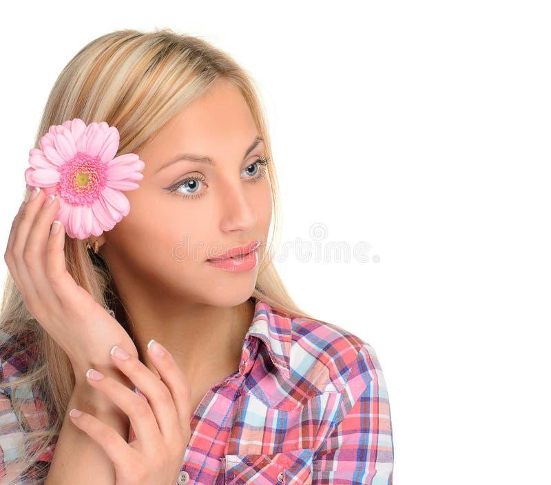 Retrato da menina bonito com flor fotografia de stock royalty free
