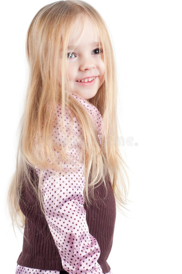 Retrato da menina bonito pequena com cabelo longo foto de stock