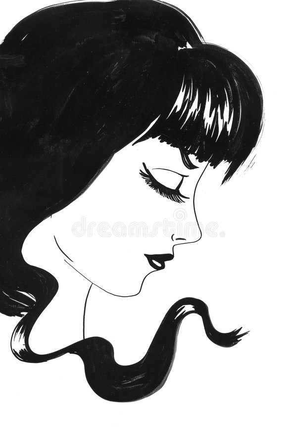 Retrato da menina com cabelo preto ilustração stock