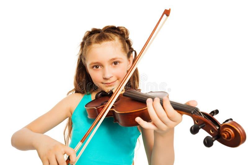 Retrato da menina com corda e violino do jogo fotos de stock