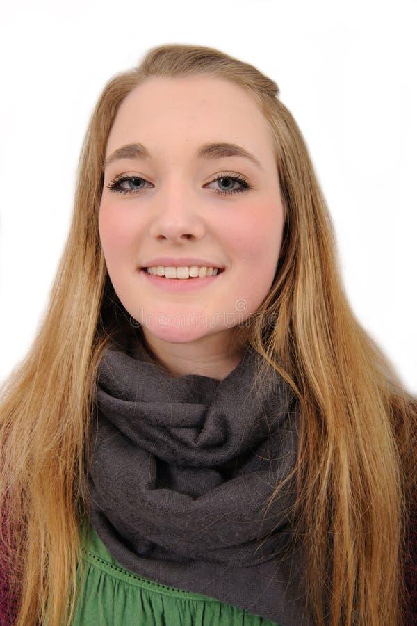 Retrato da menina de cabelos compridos aguda fotos de stock royalty free
