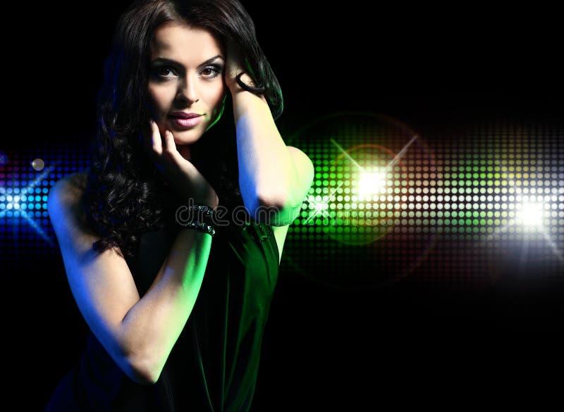 Retrato da menina de dança no disco imagem de stock royalty free