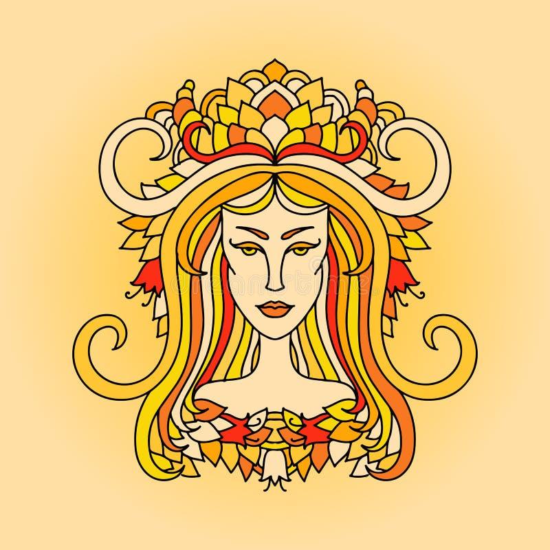 Retrato da menina do Áries Sinal do zodíaco do fogo Ilustração alaranjada simples do vetor ilustração royalty free