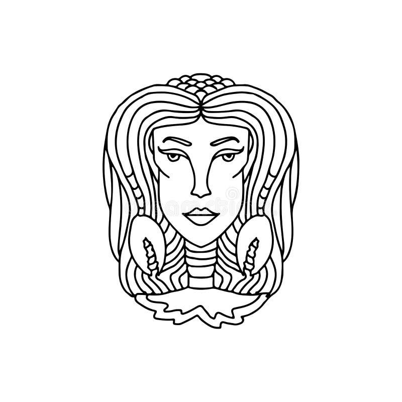Retrato da menina do câncer Sinal do zodíaco para o livro para colorir adulto Ilustração preto e branco simples do vetor ilustração do vetor