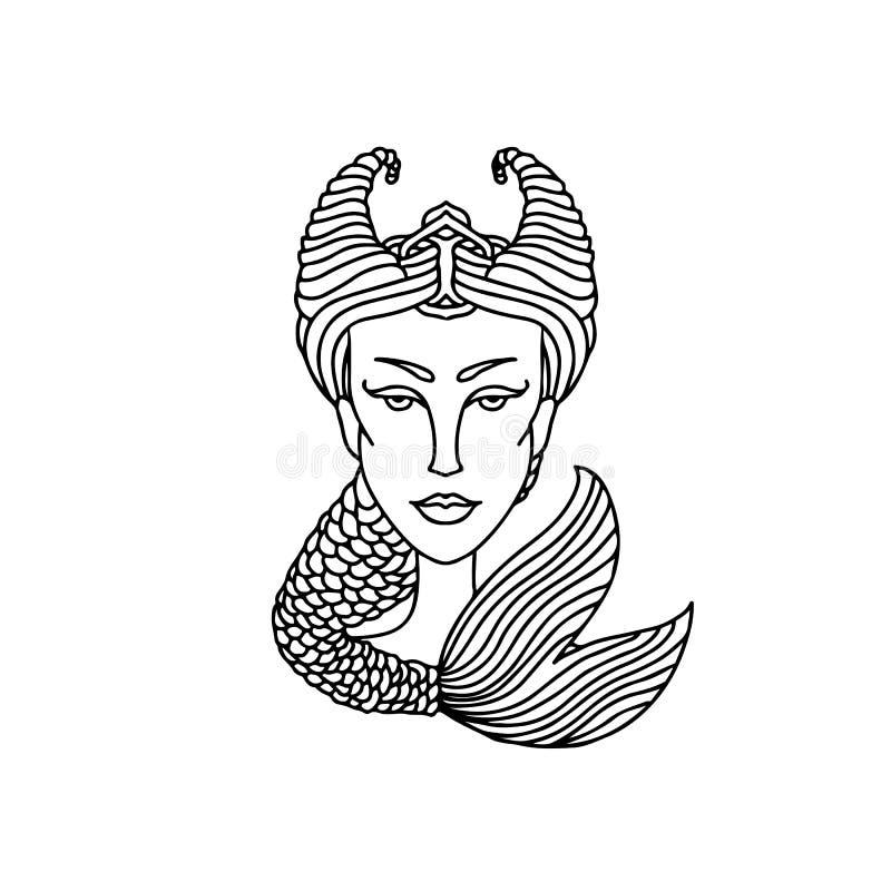 Retrato da menina do Capricórnio Sinal do zodíaco para o livro para colorir adulto Ilustração preto e branco simples do vetor ilustração do vetor