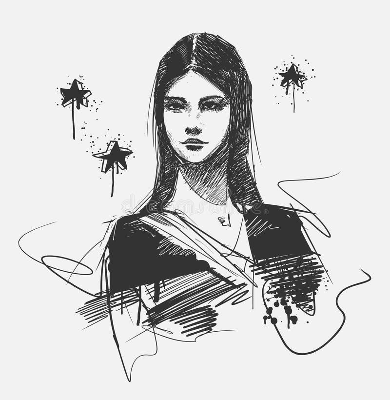 Retrato da menina do encanto ilustração do vetor