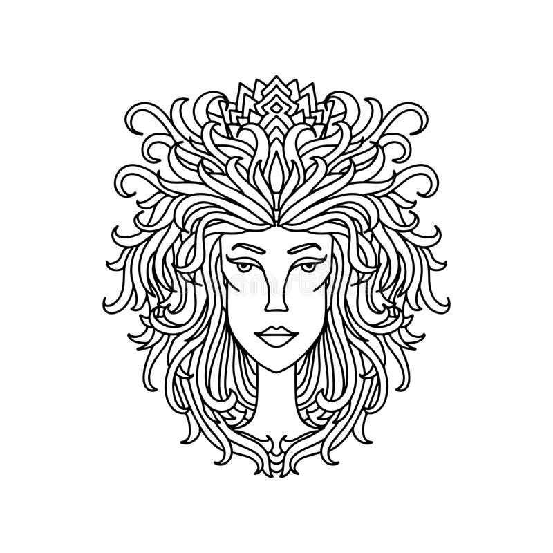 Retrato da menina do Leão Sinal do zodíaco para o livro para colorir adulto Ilustração preto e branco simples do vetor ilustração do vetor