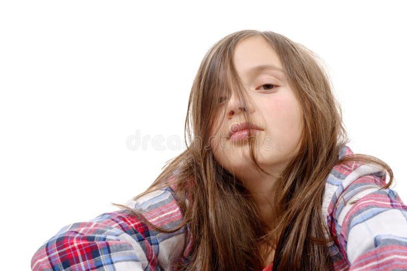 Retrato da menina do preteen isolado no branco foto de stock royalty free