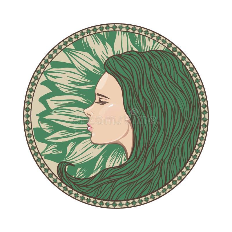 Retrato da menina do vintage no quadro ornamentado do círculo ilustração do vetor