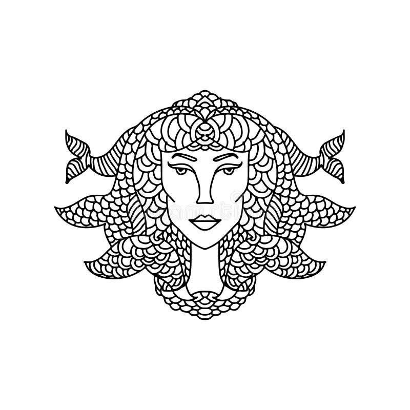Retrato da menina dos Peixes Sinal do zodíaco para o livro para colorir adulto Ilustração preto e branco simples do vetor ilustração stock