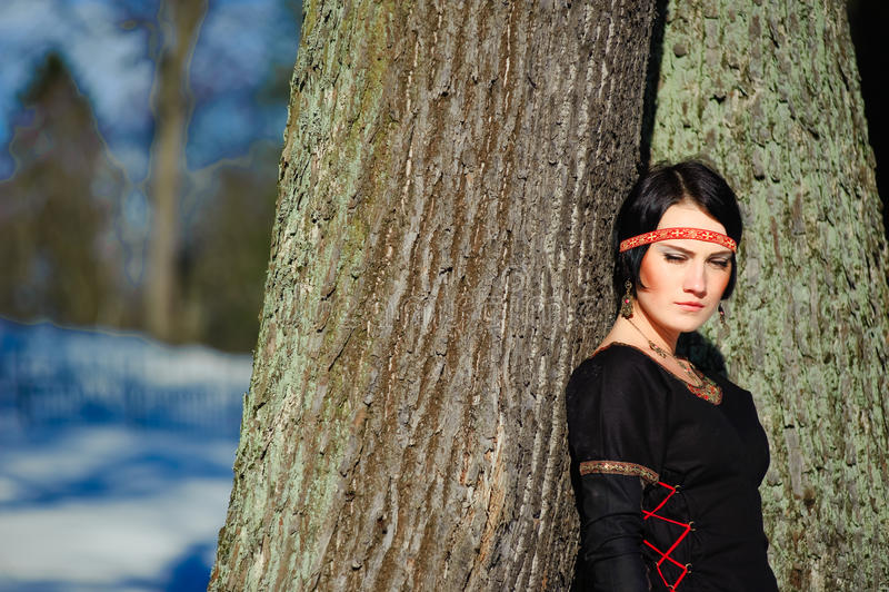 Retrato da menina em um vestido medieval imagens de stock royalty free