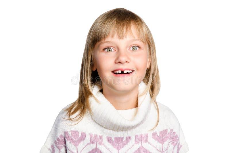 Retrato da menina espantada do preteen sobre o branco imagens de stock