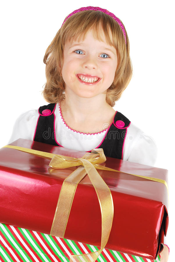 Retrato da menina feliz com presente foto de stock