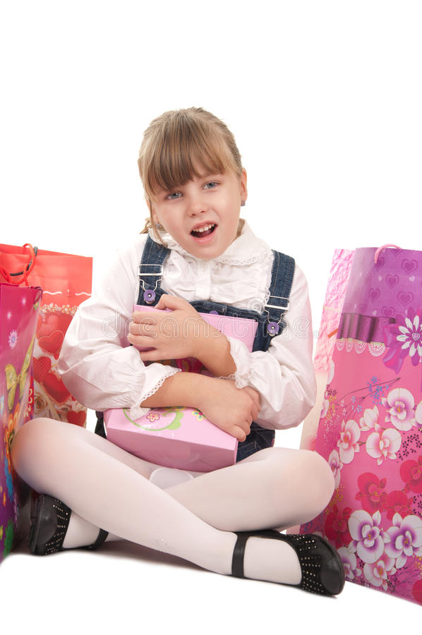 Retrato da menina feliz com presente imagens de stock royalty free