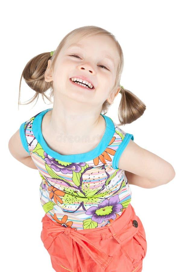 Retrato da menina feliz sobre o branco imagens de stock royalty free