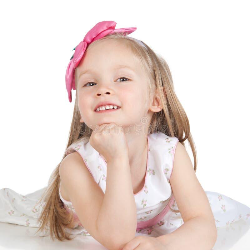 Retrato da menina feliz sobre o branco fotos de stock