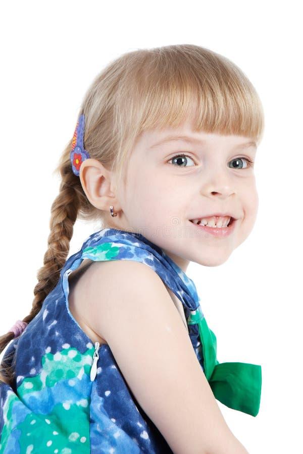 Retrato da menina feliz sobre o branco foto de stock