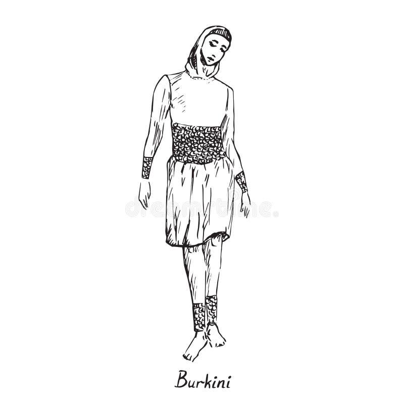 Retrato da menina muçulmana no tipo do burkini de roupa de banho com inscrição, garatuja tirada mão do esboço, esboço no es ilustração stock
