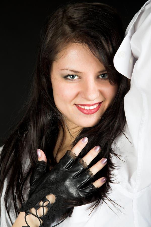 Retrato da menina nas luvas imagem de stock