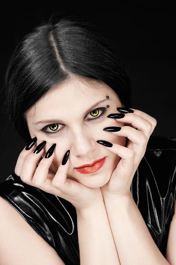 Retrato da menina no estilo gótico imagem de stock royalty free