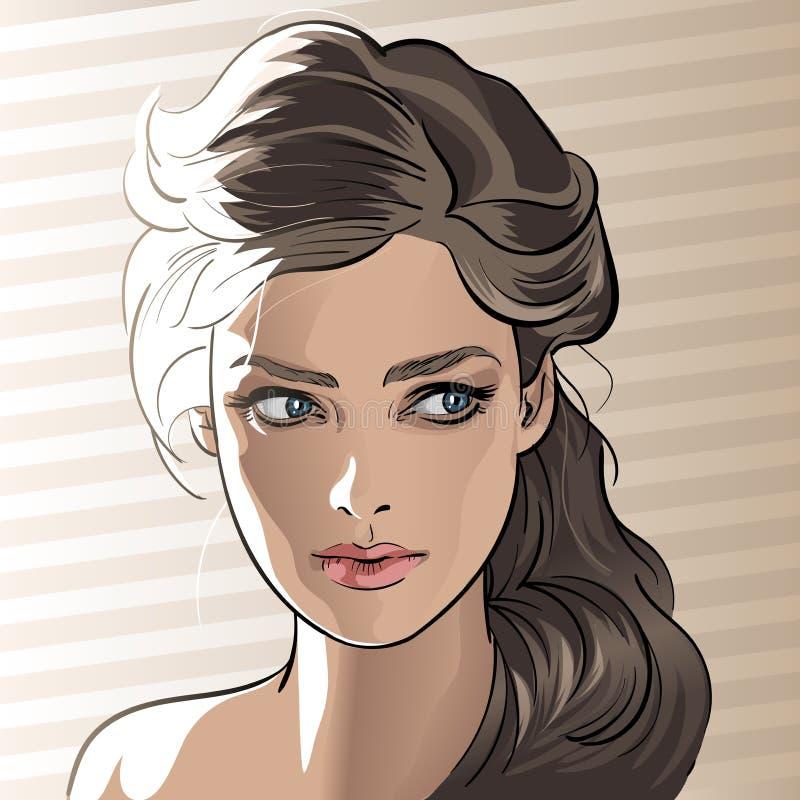 Retrato da menina no luminoso Estilo dos desenhos animados ilustração do vetor
