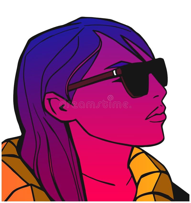 Retrato da menina que olha vidros frescos e vestindo na cor ilustração stock
