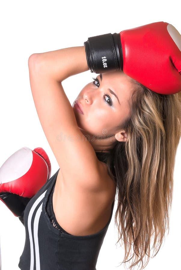 Retrato da menina 'sexy' do pugilista imagens de stock royalty free