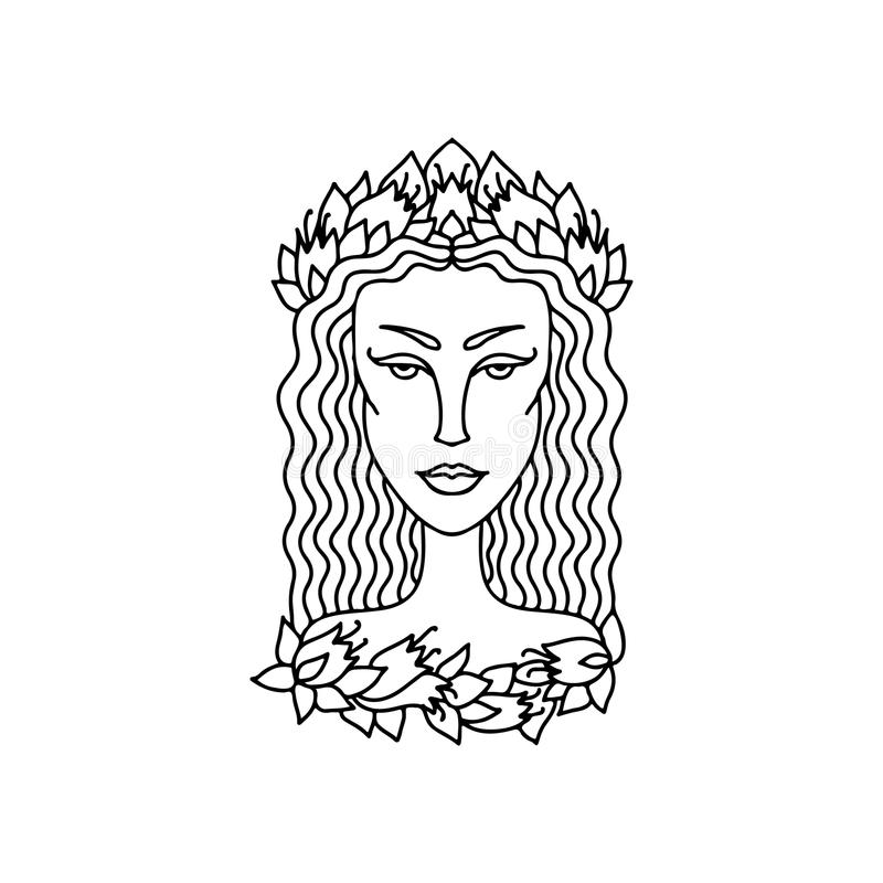 Retrato da menina da Virgem Sinal do zodíaco para o livro para colorir adulto Ilustração preto e branco simples do vetor ilustração stock