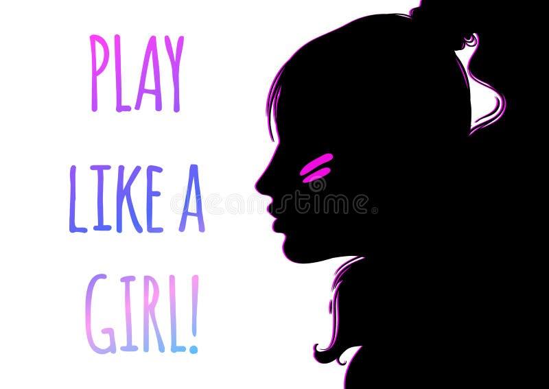 Retrato da moça atlética na opinião do perfil silhueta da cara esporte meninas feminismo Ilustração do vetor ilustração royalty free