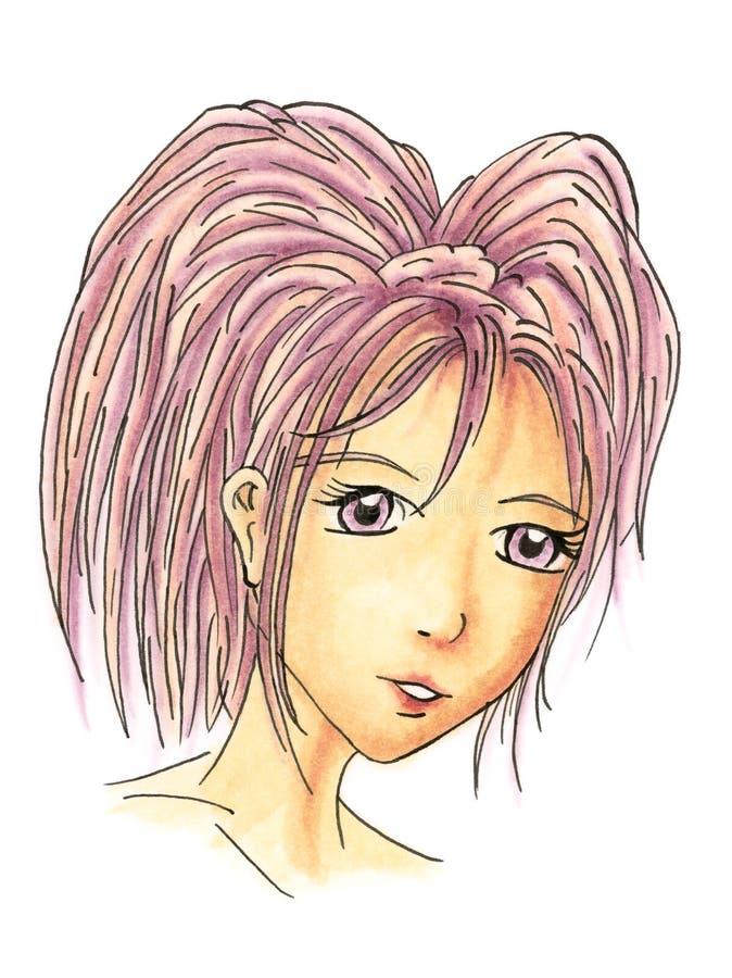 Retrato da moça no estilo dos desenhos animados sobre o fundo branco ilustração stock