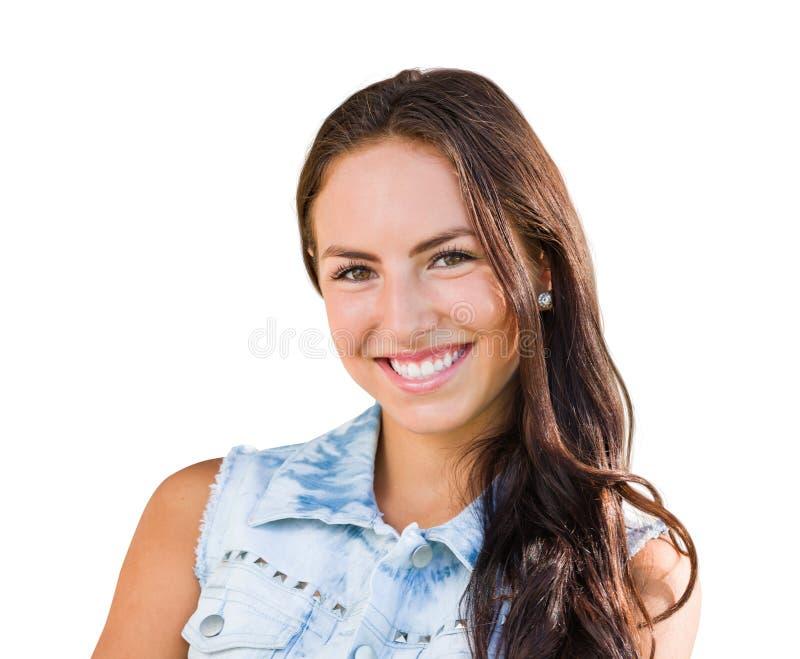Retrato da moça da raça misturada isolado no fundo branco fotografia de stock