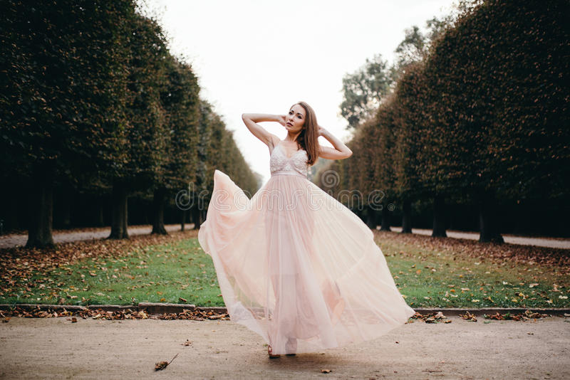 Retrato da morena bonita no vestido longo da rosa da gaze de seda foto de stock royalty free
