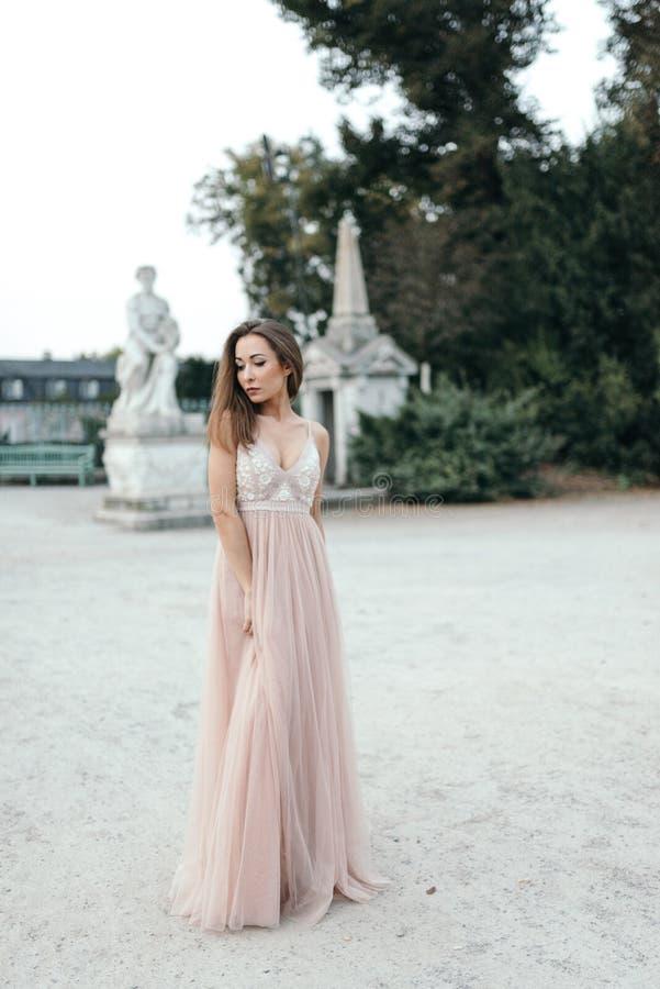 Retrato da morena bonita no vestido longo da rosa da gaze de seda fotografia de stock royalty free
