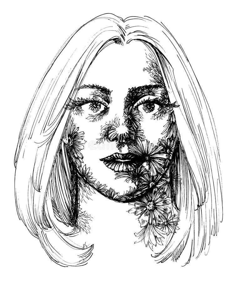 Retrato da mulher ilustração stock
