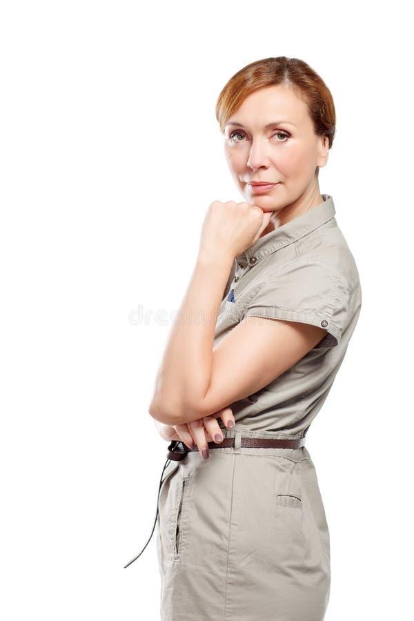 Retrato da mulher adulta bonita imagem de stock