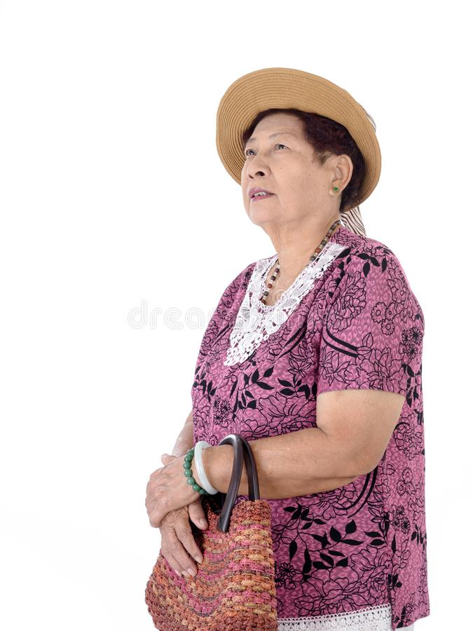 Retrato da mulher adulta isolada no branco foto de stock royalty free