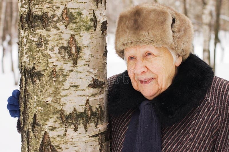Retrato da mulher adulta no inverno imagens de stock