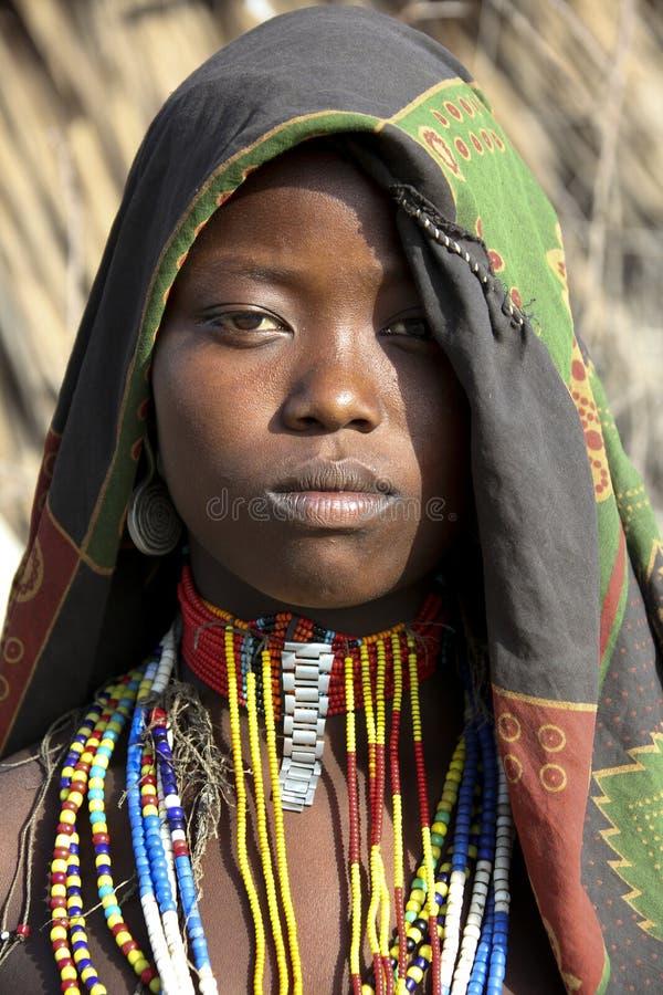 Retrato da mulher africana fotografia de stock