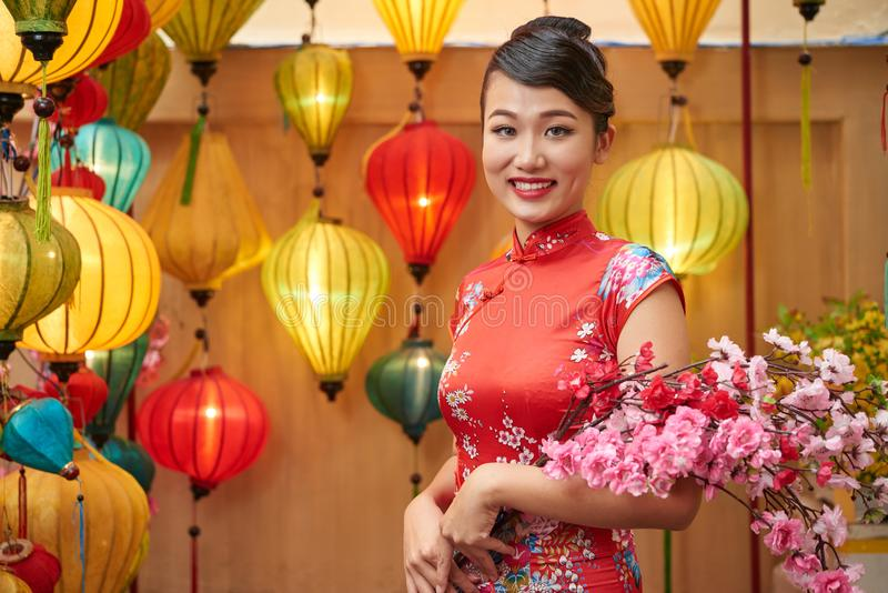 Retrato da mulher asiática bonita foto de stock