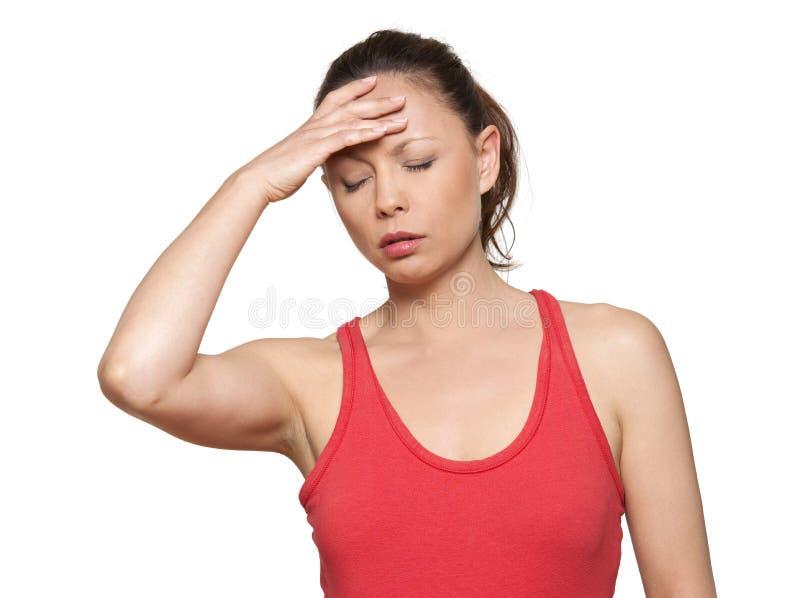 Retrato da mulher asiática bonita com dor de cabeça imagens de stock royalty free