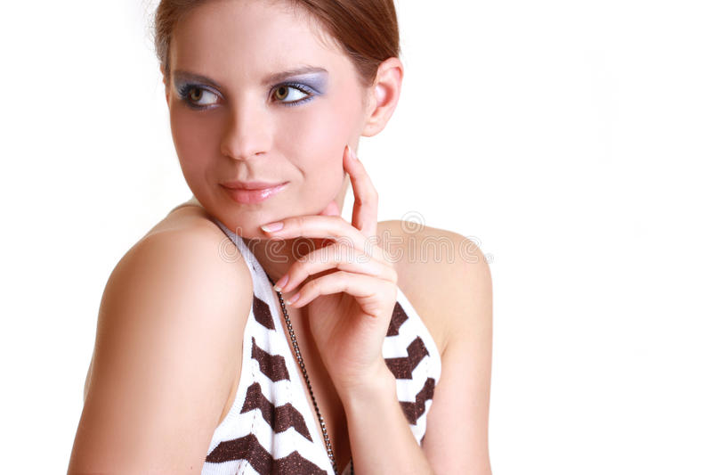 Retrato da mulher bonita atrativa imagens de stock royalty free