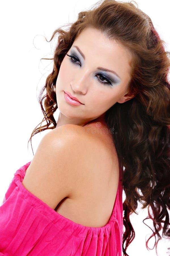 Retrato da mulher bonita bonita do encanto fotografia de stock